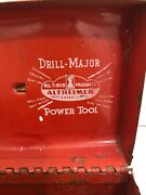 Vintage Small Red Metal Drill Major Power Tool Boxrustic Farmhouse Hinged