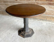 Vintage Early 1900's Brunswick Balke Collender Cast Iron Base Round Parlor Table