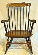 Antique 1800and039s Nichols And Stone Gardener Ma Hitchcock Brown-gold Rocking Chair