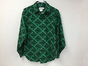 Calvin Klein Sport Vintage Menand039s Button Up Shirt Small Green Vacation Camp Beach