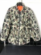 Vintage Reversible Duck Hunting Old School Camo Coat Size Adult L