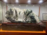 63 Inch Natural Dushan Jade Handcarved Home Decorate Treasure Landscape Scenery