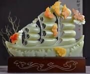 18and039and039 Natural Burma Afghan White Jade Handcarved Blessing Plain Sailing Sailboat