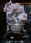 20 Delicate Natural Xiu Pink Jade Carved Subshrubby Peony Flower Basket Statue