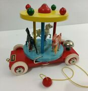 Brio Carousel Wooden With Plastic Horses Pull Toy Made In Sweden Colorful