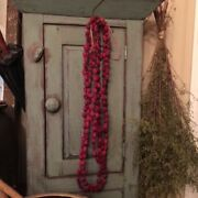 Primitive Two Dried Cranberry Garland Early Look Homestead Christmas 12 Feet