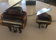 Baby Grand Piano Shaped Amber Glass Table Lamps One Large And One Small Set If Two
