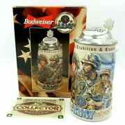 Budweiser Honoring Tradition And Courage Series Army Stein 1998 - Made In Brazil