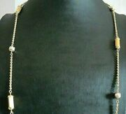 Long Necklace Gold Solid 18 Carats Vintage Yearsand039 50 With Natural Pearls Italy