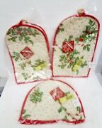 Vtg Christmas Holly And Berries Lot Of 3 Toaster Coffee Maker And Mixer Covers Nip