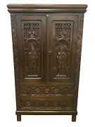 Antique French Gothic Cabinet 1910 Oak Medieval Storage Cabinet