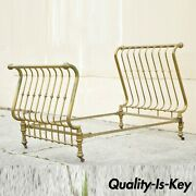 Antique Victorian Full Size Gold Brass Sleigh Bed W Cast Iron Rails Marked 1908