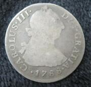 1788 2 Reales Peru Old Silver Coin Nice Detail Clear Date A057