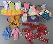 Old Mattel Barbie Doll Clothes Lot Pajamas Blankets Pillows Rugs Sleeping Bags