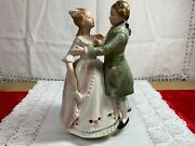 Vintage Rice Imports Dancing Colonial Couple Music Box Somewhere My Love 1960s