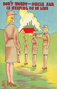 C5913 Uncle Sam Keeping Us In Line Wac Wwii Military Comic Linen Pc Beals Wc17