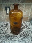 Large Amber Brown Apothecary Bottle Apothecaries Hall New Haven Yale Medical 3l