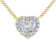 1/2ct White Real Diamond Frame Heart Pendant 14k Yellow Gold Valentine Gifts