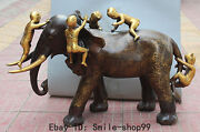 35marked Chinese Bronze Gilt Fu Five Boy Lad Girl Gal Ride Elephant Play Statue
