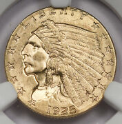 United States Us 1925 D 2.5 Indian Head Quarter Gold Eagle Coin Ngc Ms64 Bu