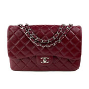 Caviar Quilted Jumbo Single Flap Burgundy Red