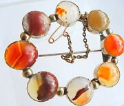 Antique Georgian Large 9ct Gold And Scottish Agate Brooch