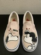 Peanuts Snoopy Pink Canvas Round Toe Comf Slip On Skate Loafers Men 3.5 W 5
