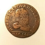 1614 Coin French States Bouillon And Sedan 2 Liards Copper France Mb/dxcs