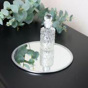 Round Mirrored Silver Display Plate Tray Home Decor Wedding Table Accessories