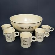 Vintage Fiestaware Tom And Jerry Footed Punch Bowl And 5 Mugs Set Art Deco 40s Hlc
