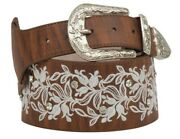 Angel Ranch Western Belt Womens Leather Distressed Floral Brown Da6252
