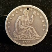 1840 Seated Liberty Half Dollar. Holed Reverse Of 1839. Small Letters. Rhv-032