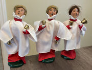 Vintage 1999 Byers Choice Carolers Church Chor Girls With Bells Lot