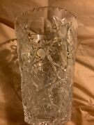 Excellent Condition Royal Brierley Cut Crystal Vase W/ Star Pattern - 8andrdquot 5.75andrdquow