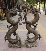 32 Vintage Huge Chinese Bronze Animal Emperor Royalty 2 Dragon Play Ball States