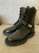 Givenchy Eden Combat Lock Boots High Black Leather 5.5us 35.5 1200