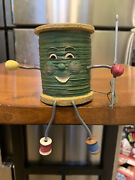 Wmg Anthropomorphic Face Sewing Craft Shelf Sitter Spool Of Thread And Neeedle