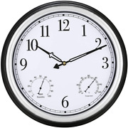 Yumt 15 Inch Large Indoor Outdoor Waterproof Wall Clock With Thermometer