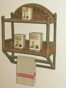 Vintage French Wall Shelf And Towel Holder - Bamboo Rattan Wood Wicker - 1960and039s