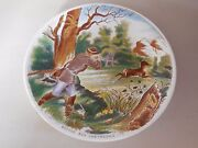Antique French Plate Made By Sarreguemines Dv France - Deer Hunting