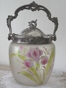 Antique French Enameled Glass And Silvered Pewter Candy Cookie Jar Basket 19th C.