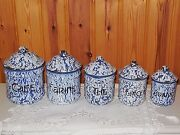 Antique French Enamelware Graniteware Canister Set - Deep Blue And White Swirl