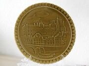 Vintage French Majolica Plate - French Castles Gien -birthday Plate C.1930