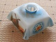 Antique French Opaline Glass Lampshade 7 - Windmills And Flowers Blue Background
