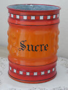 Antique French Enamelware Graniteware Canister / Sucre Sugar Dating Early 1900