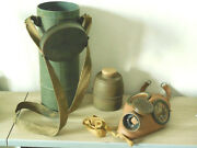 Antique Ww2 French Gas Mask C38 Stamp 11/40, Cartridge Cp1935m, Canister C38