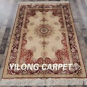 Yilong 4and039x6and039 Handwoven Silk Carpet Entryway Floor Decor Classic Area Rug Ywx064a
