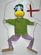 Vintage Handmade Wood Donald Duck Marionette String Puppet Unique 14 Inches Tall