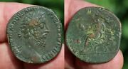 Commodus Sestertius Emperor Seated With Globe Crowned By Victory Nike