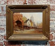 C. Delts -19th Century Street Scene In Old Town-dutch Oil Painting Impressionist